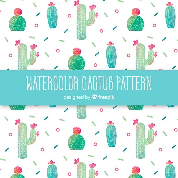 Aquarel cactus patroon Gratis Vector