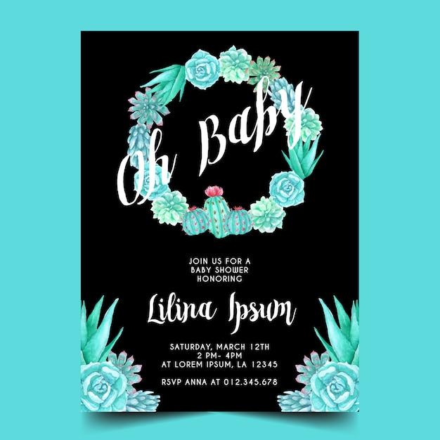 Aquarel cactus thema voor baby shower uitnodiging Premium Vector