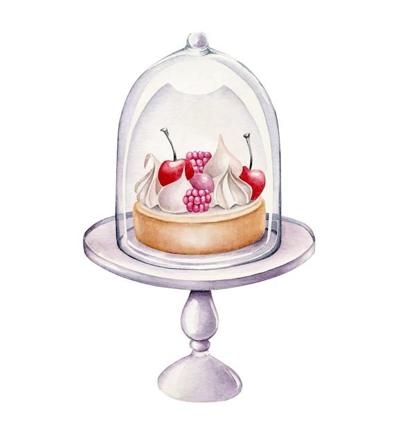 Aquarel cake op een stand geïsoleerd op wit Premium Vector