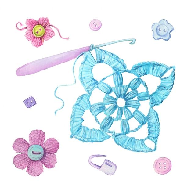 Aquarel cartoon haak motief en breien accessoires. vector illustratie Premium Vector