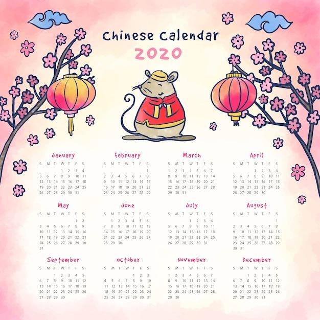 Aquarel chinees nieuwjaar kalender Gratis Vector