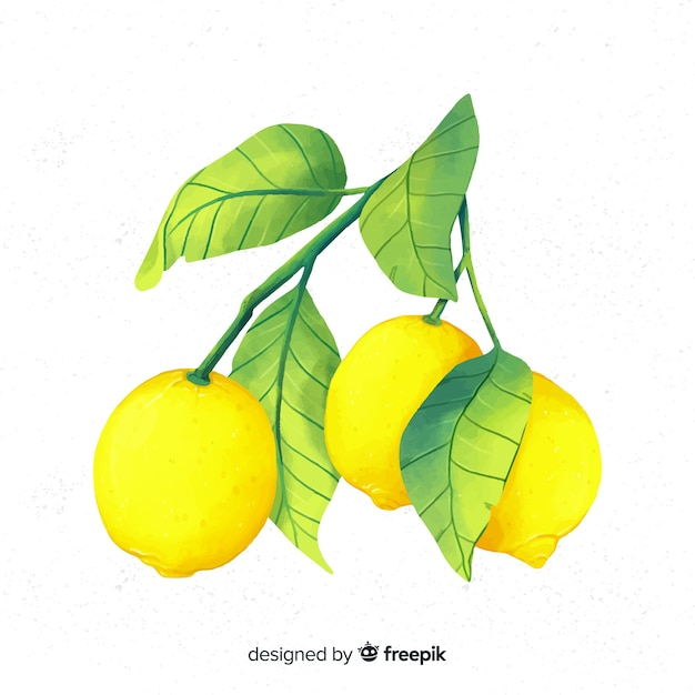 Aquarel citroen achtergrond Gratis Vector