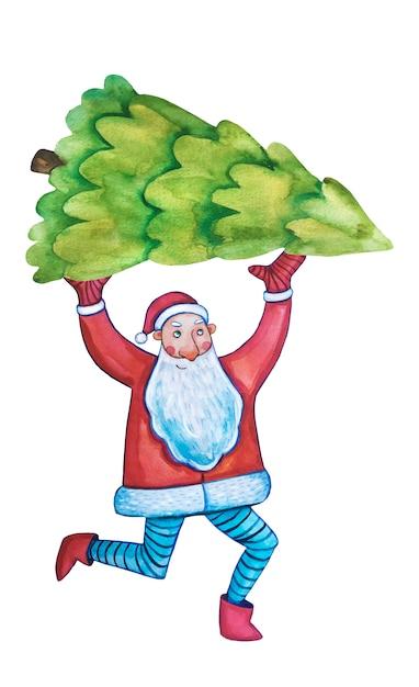 Aquarel clipart. gelukkig nieuwjaar. kerstkaart, poster. santa claus aquarel. kerstboom. Premium Vector
