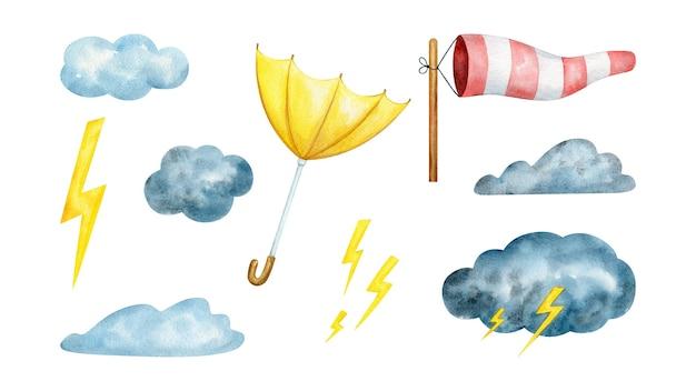 Aquarel clipart set stormachtig weer met wolken, wind en donder Premium Vector