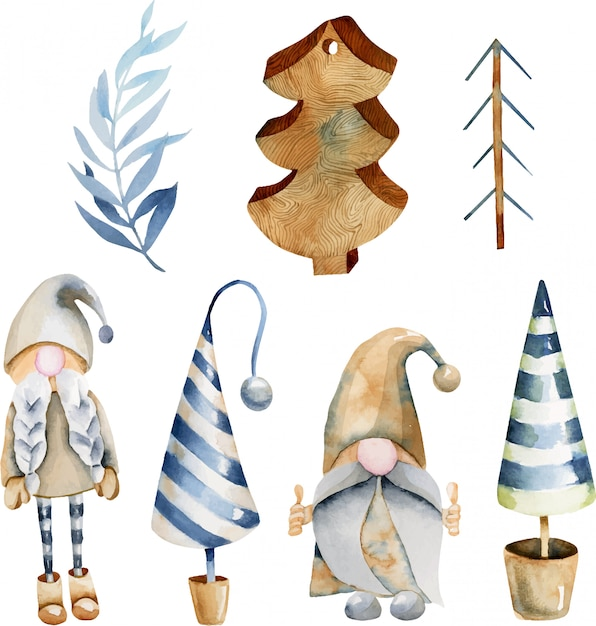Aquarel collectie kerstboom speelgoed en scandinavische elfs Premium Vector