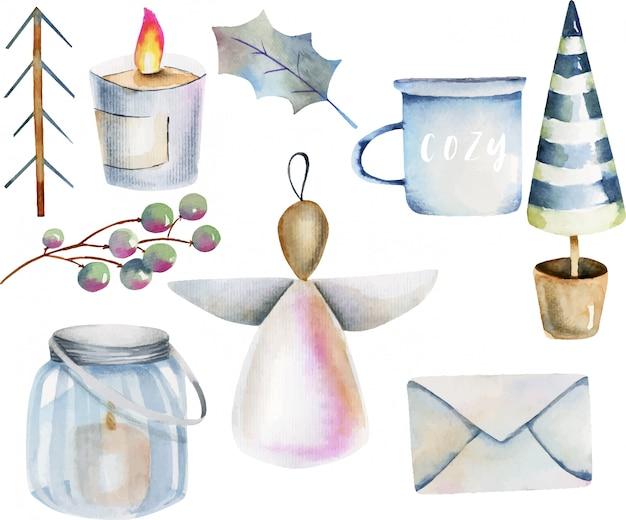 Aquarel collectie van scandinavische kerstartikelen Premium Vector