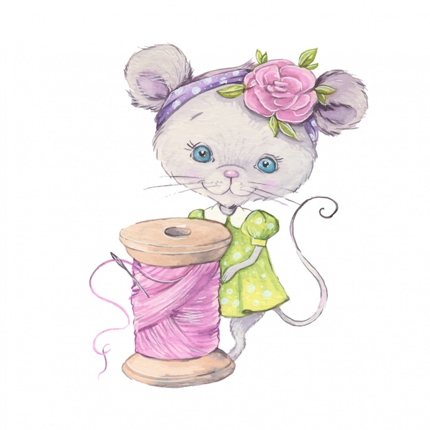 Aquarel cute cartoon muis met een spoel van draad. Premium Vector