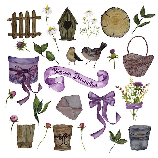 Aquarel decoratie-elementen met mand met bloemen Premium Vector