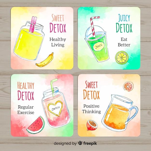 Aquarel detox vruchtensap kaarten Gratis Vector
