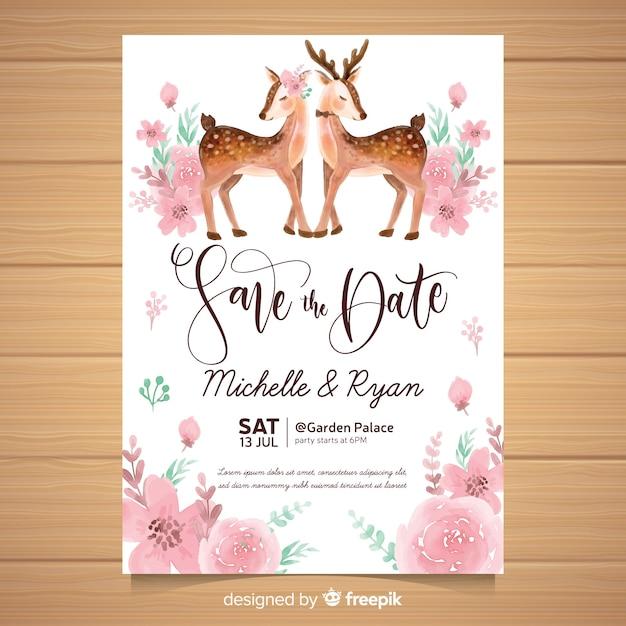Aquarel dier bruiloft uitnodiging sjabloon Gratis Vector