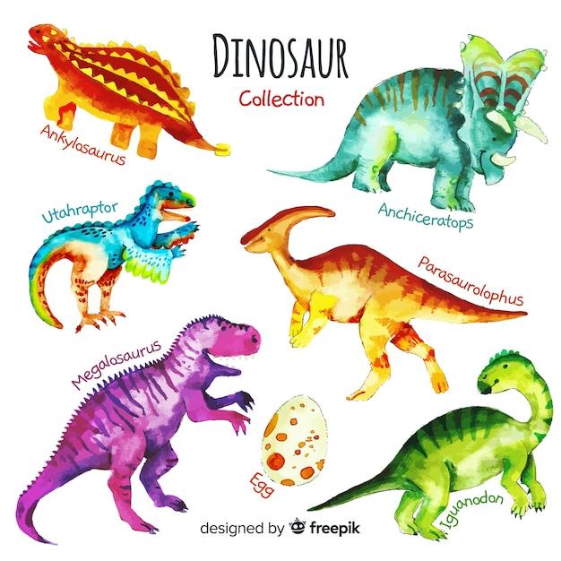 Aquarel dinosaurus collectie Gratis Vector