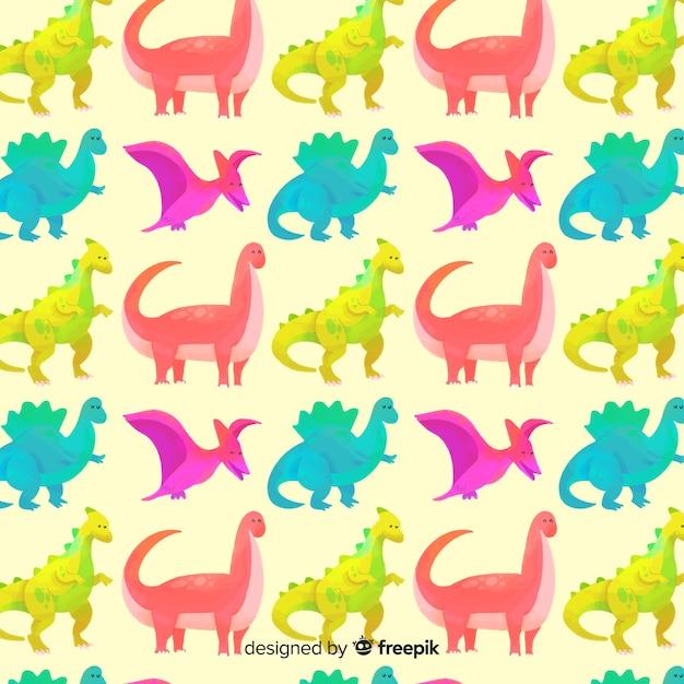 Aquarel dinosaurus patroon Gratis Vector