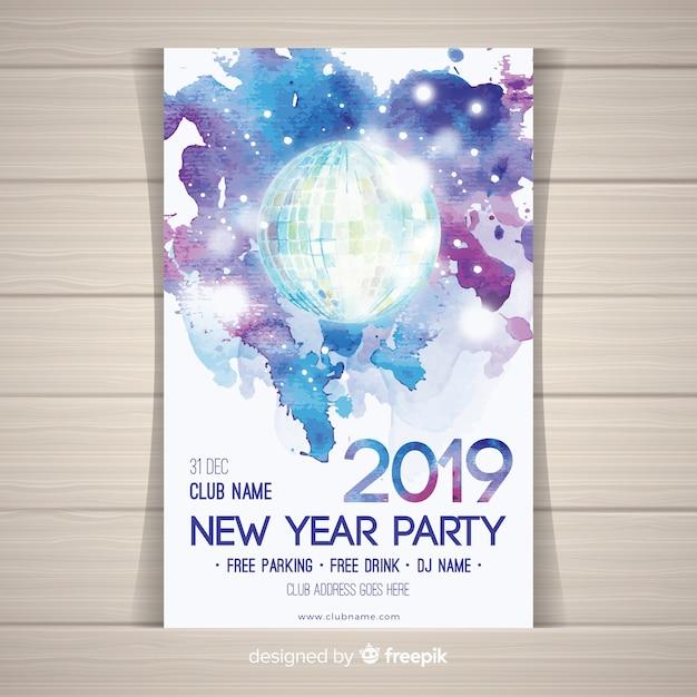 Aquarel disco bal nieuw jaar feest poster Gratis Vector