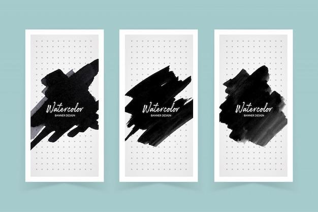 Aquarel donkere kleur verf stoke cover set Premium Vector