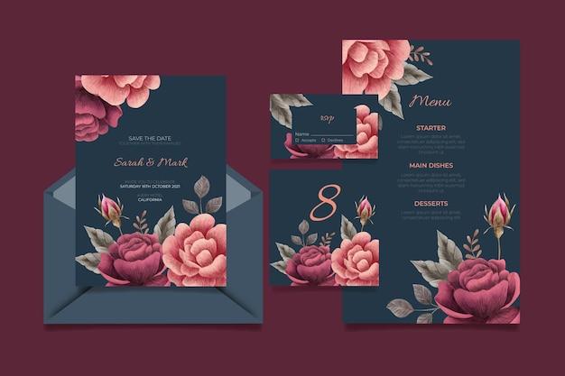 Aquarel dramatische botanische bruiloft briefpapier Gratis Vector