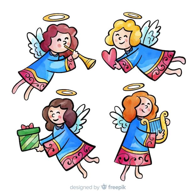 Aquarel engelen collectie aanbieden Gratis Vector