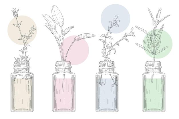 Aquarel etherische olie fles collectie Gratis Vector