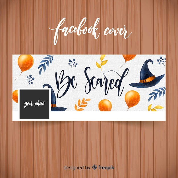 Aquarel facebook banner met halloween concept Gratis Vector