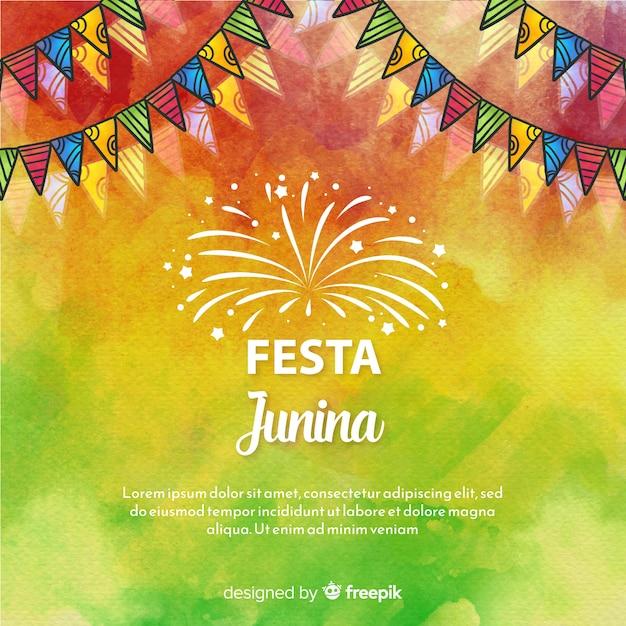 Aquarel festa junina achtergrond Gratis Vector