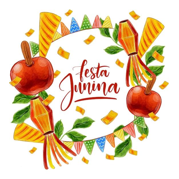 Aquarel festa junina concept Gratis Vector