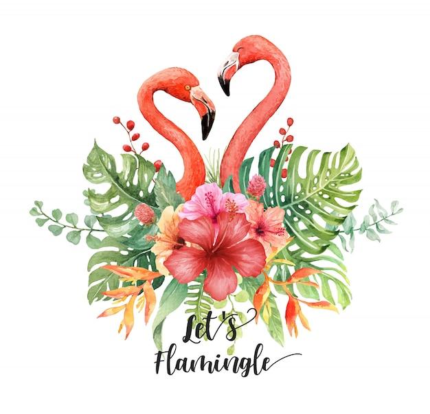 Aquarel flamingo's hart in tropische boeket Premium Vector