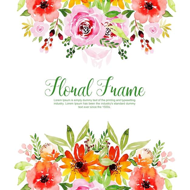 Aquarel floral frame multi-purpose achtergrond Gratis Vector