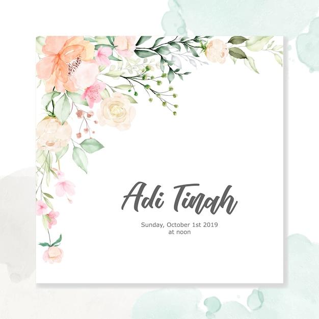 Aquarel floral frame multi-purpose achtergrond Premium Vector