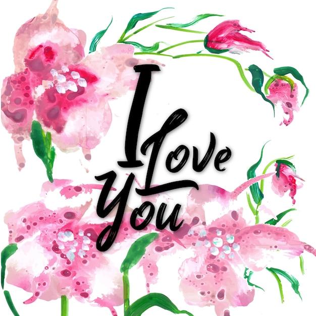 Aquarel floral valentine i love you achtergrond vector premium aquarel floral valentine i love you achtergrond premium vector voltagebd Images