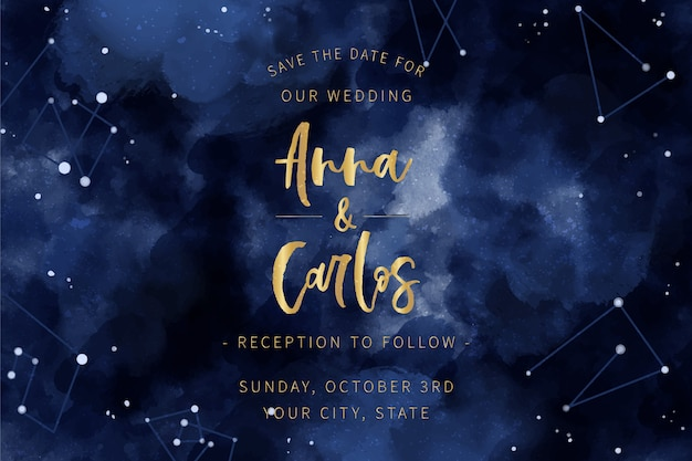 Aquarel galaxy bruiloft uitnodiging thema Gratis Vector