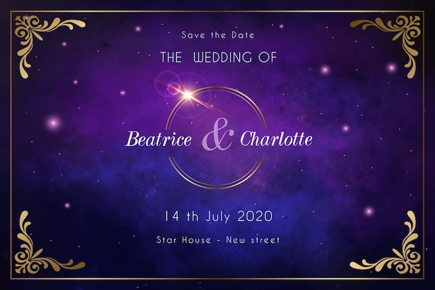 Aquarel galaxy bruiloft uitnodiging Gratis Vector