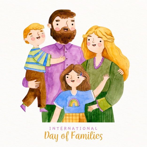 Aquarel gelukkige familie met broers en zussen Gratis Vector