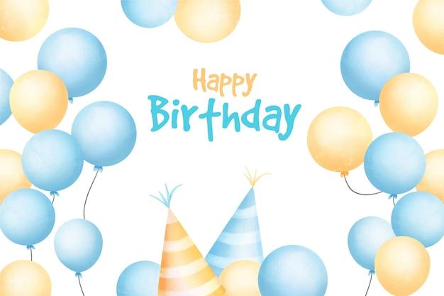 Aquarel gelukkige verjaardag achtergrond en feestmutsen Gratis Vector