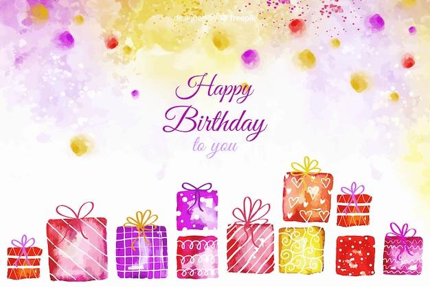 Aquarel gelukkige verjaardag achtergrond met geschenken Gratis Vector