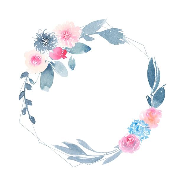 Aquarel geometrische ronde krans met bloem roze roos en indigo bladeren Gratis Vector