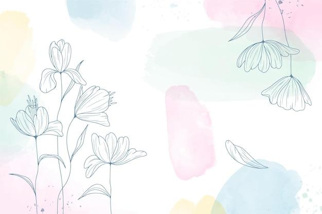 Aquarel geschilderde achtergrond met hand getrokken bloemen Gratis Vector
