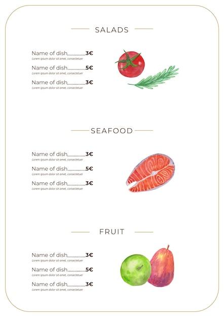 Aquarel gezond eten restaurant menusjabloon Gratis Vector