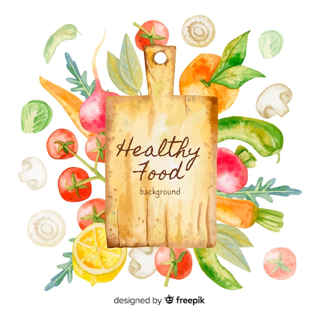 Aquarel gezond voedsel achtergrond Gratis Vector