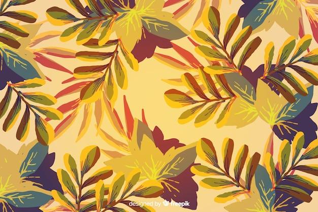 Aquarel gradiënt herfstbladeren achtergrond Gratis Vector