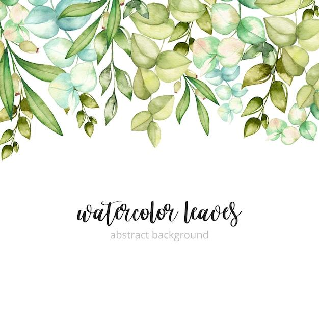 Aquarel groene bladeren achtergrond Premium Vector