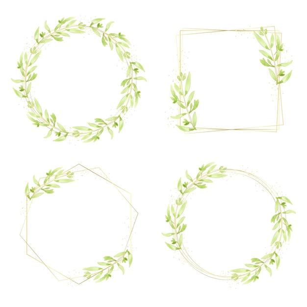 Aquarel groene bladeren gouden glitter krans frame-collectie Premium Vector
