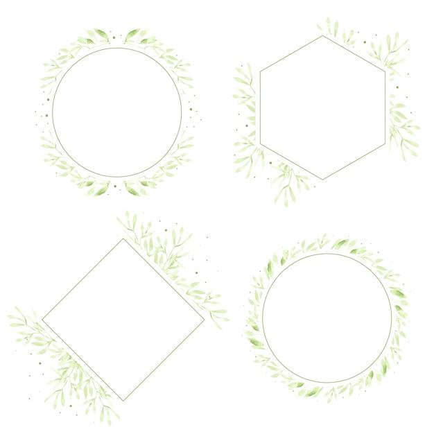 Aquarel groene bladeren krans frame-collectie voor logo Premium Vector