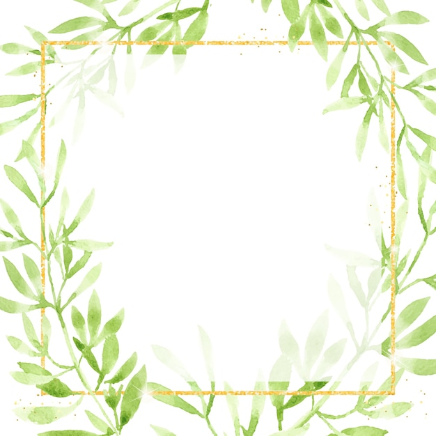 Aquarel groene bladeren met gouden glitter vierkant frame Premium Vector