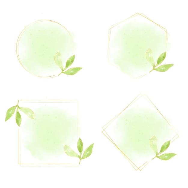 Aquarel groene bladeren met gouden krans frame-collectie Premium Vector