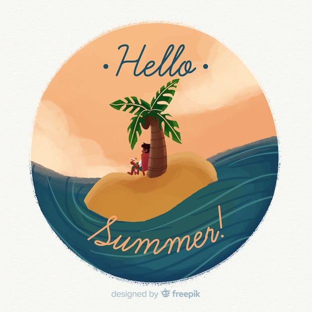 Aquarel hallo zomer achtergrond Gratis Vector