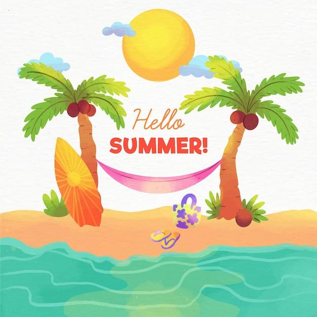 Aquarel hallo zomer concept Gratis Vector
