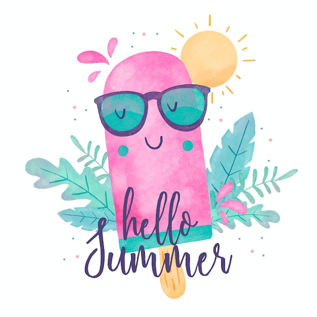 Aquarel hallo zomer en ijs Gratis Vector
