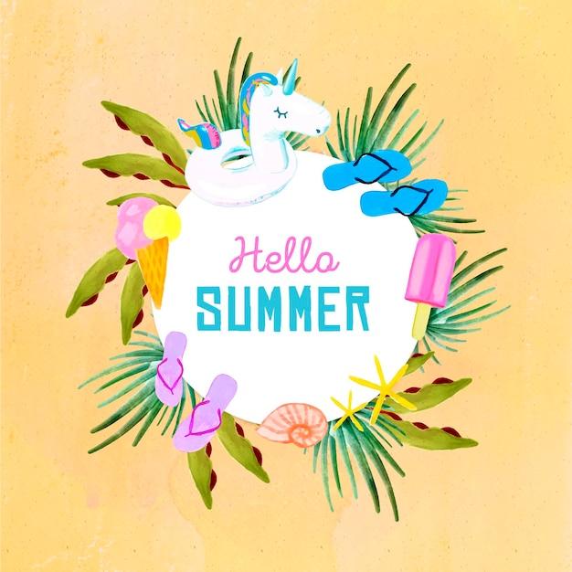 Aquarel hallo zomer met slippers en ijs Gratis Vector