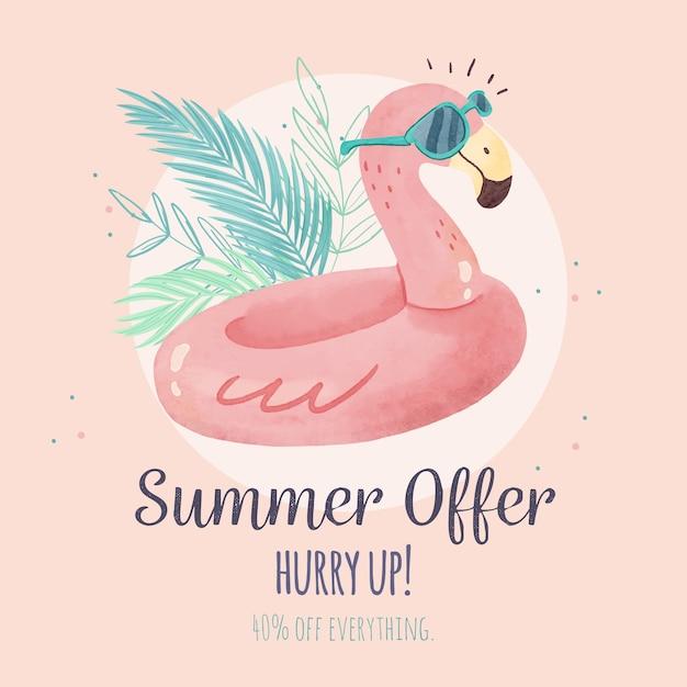 Aquarel hallo zomerverkoop flamingo floatie Gratis Vector