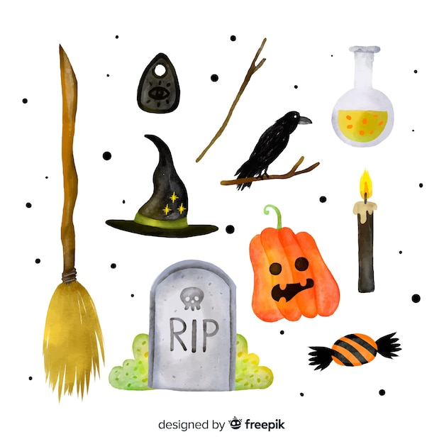 Aquarel halloween element collectie Gratis Vector