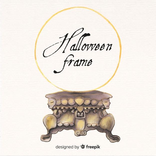 Aquarel halloween gouden frame achtergrond Gratis Vector